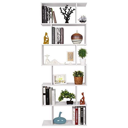 Homfa Scaffale Libreria Mobile Soggiorno in Legno Mobile per Archiviazion Carico 30 kg 70 × 23.5 × 190.5cm (Bianco) - 1