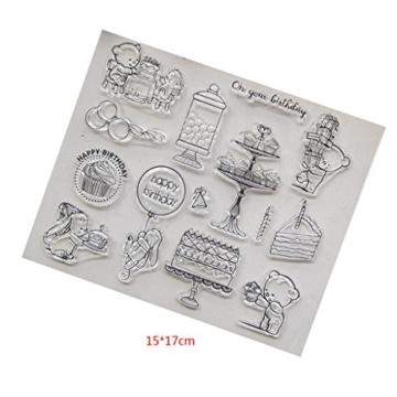 Kofun DIY Scrapbooking Francobolli Foil Carta regalo fai da te Artigianato per Scrapbooking Photo Album Decor fai da te Timbro in silicone + struttura in acciaio al carbonio Buon compleanno - 3