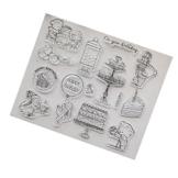 Kofun DIY Scrapbooking Francobolli Foil Carta regalo fai da te Artigianato per Scrapbooking Photo Album Decor fai da te Timbro in silicone + struttura in acciaio al carbonio Buon compleanno - 1