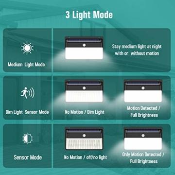 Luce Solare LED Esterno, Trswyop [Risparmio Energetico Super-2 Pezzi] 118LED Lampada Solare con Sensore di Movimento 2200mAh Luci Solari da Parete Impermeabile Solare LED con 3 Modalità - 2