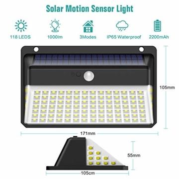 Luce Solare LED Esterno, Trswyop [Risparmio Energetico Super-2 Pezzi] 118LED Lampada Solare con Sensore di Movimento 2200mAh Luci Solari da Parete Impermeabile Solare LED con 3 Modalità - 6