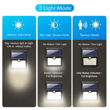 Luce Solare Led Esterno,【2200mAh Alta Qualità 97LED-1000lumen】VOOE Lampade Solari a Led da Esterno Luci Solari Esterno con Sensore di Movimento Luci Esterno Energia Solare IP65 per Parete-4 Pezzi - 6