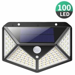 Luce Solare LED Esterno,【270°Angolo Illuminazione】100LED Lampada Solare con Sensore di Movimento Luci Esterno Energia Solare 3 modalità Lampade Solari Impermeabile per Giardino,Parete - 1