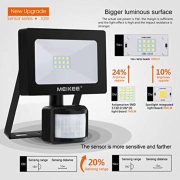 MEIKEE Faretto con Sensore di Movimento 10W, Faro LED Esterno, IP66 Impermeabile LED Esterno, Illuminazione Bianco Freddo 6000K 1000LM, Lampada a Rsparmio Energetico a LED per Cortile - 3