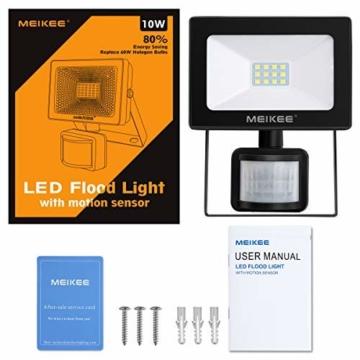 MEIKEE Faretto con Sensore di Movimento 10W, Faro LED Esterno, IP66 Impermeabile LED Esterno, Illuminazione Bianco Freddo 6000K 1000LM, Lampada a Rsparmio Energetico a LED per Cortile - 7