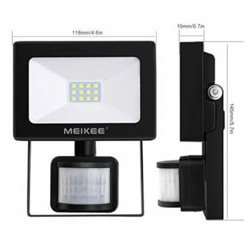 MEIKEE Faretto con Sensore di Movimento 10W, Faro LED Esterno, IP66 Impermeabile LED Esterno, Illuminazione Bianco Freddo 6000K 1000LM, Lampada a Rsparmio Energetico a LED per Cortile - 8