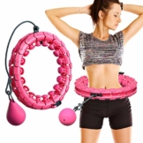 MOSRACY Hula Hoop Fitness Fitness Massage Hula Hoop Non Cade Yoga Hula Hoop Perdita di Peso artefatto Attrezzature Sportive Adatte per Adulti e Bambini (Rosa + Sfera di inerzia) - 1