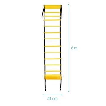 Navaris Scala per Allenamento Calcio 6m - scaletta per Fitness Training Speed Agility Ladder - Scala per Esercizi agilità e velocità con Borsa - 6