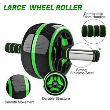 Odoland Ab Roller Set 6-in-1 incl. AB Wheel Roller, 2 Maniglie per Flessioni, Corda per Saltare,2 Pinza Mano, 2 Dischi Scorrevoli, Tappetino per Ginocchia - Kit per Addominali - 2