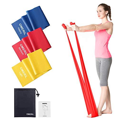 OMERIL Bande Elastiche Fitness (3 Pezzi), 2 m/ 1,5 m Fasce Elastiche con 3 Livelli di Resistenza, Fascia Elastica Esercizi Ideale per Yoga, Pilates, Allenamento di Forza e Flessibilità, Stretching - 1
