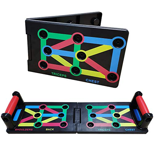 Push Up Board Pieghevole con Manico 9-in-1 Sistema di Allenamento Attrezzi Esercizio Fitness Sport Casa Palestra - 1