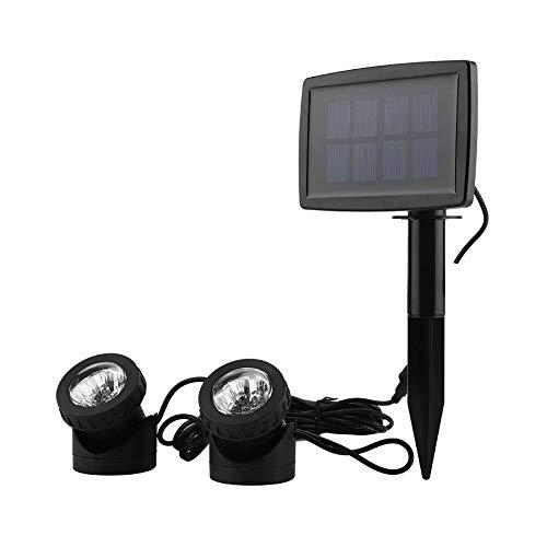 Riuty Solar Pond Lights, 12LED Super Bright Dual Head Luce Subacquea alimentata ad energia Solare per Pond Garden Pathway - 1