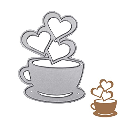 sayletre Taglio Muore, Tazza di caffè e Cuore Taglio Muore Metallo Goffratura Punch Stencil Modello per Scrapbooking Album di Foto di Carta di Carte di Arte Forniture Artigianali Home Decor - 1