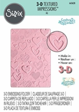 Sizzix Cartella da Embossing Textured Impressions 663628 3D Cuori by Courtney Chilson, Multicolore, taglia unica - 1