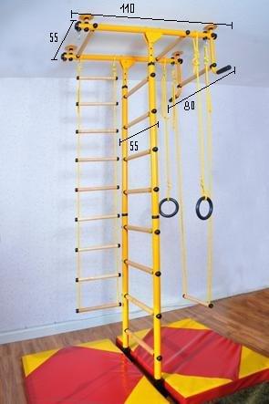 Spalliera, Indoor Impalcatura Arrampicata, Attrezzo sportivo, 6 Colori, 3 altezza della stanza. direttamente dal produttore, max. Tenuta potenza 130 kg - giallo, per Altezza Stanza von 240-290cm - 5