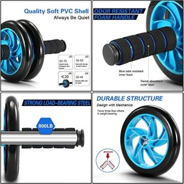 TOMSHOO 5-in-1 Fitness Workout Set - AB Wheel Roller Addominali +2 Maniglie per Flessioni + Corda per Saltare + Pinza Mano + Tappetino Fitness per Uomo/Donna Fitness - 2