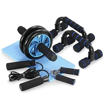 TOMSHOO 5-in-1 Fitness Workout Set - AB Wheel Roller Addominali +2 Maniglie per Flessioni + Corda per Saltare + Pinza Mano + Tappetino Fitness per Uomo/Donna Fitness - 1