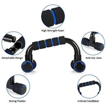TOMSHOO 5-in-1 Fitness Workout Set - AB Wheel Roller Addominali +2 Maniglie per Flessioni + Corda per Saltare + Pinza Mano + Tappetino Fitness per Uomo/Donna Fitness - 6