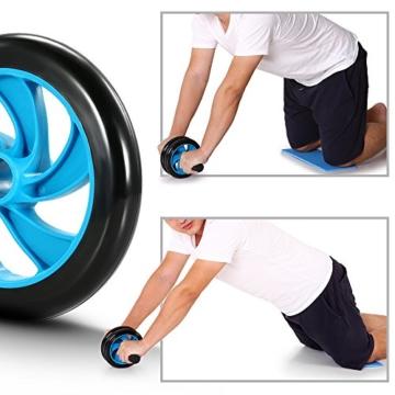 TOMSHOO 5-in-1 Fitness Workout Set - AB Wheel Roller Addominali +2 Maniglie per Flessioni + Corda per Saltare + Pinza Mano + Tappetino Fitness per Uomo/Donna Fitness - 8