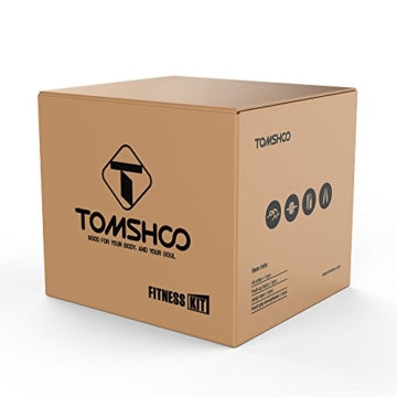 TOMSHOO 5-in-1 Fitness Workout Set - AB Wheel Roller Addominali +2 Maniglie per Flessioni + Corda per Saltare + Pinza Mano + Tappetino Fitness per Uomo/Donna Fitness - 9