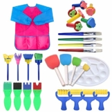 TRUBUY Kit di Pittura per Bambini, 28 Pezzi Pennelli di Spugna Pittura con Pennello in Schiuma di Spugna, Palette e Grembiule per Apprendimento Precoce Arte Mestiere Fai da Te - 1