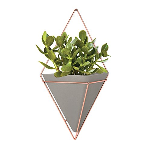 Umbra Trigg Vaso da Parete Grande Ceramica, Pietra, Calcestruzzo/Rame - 1