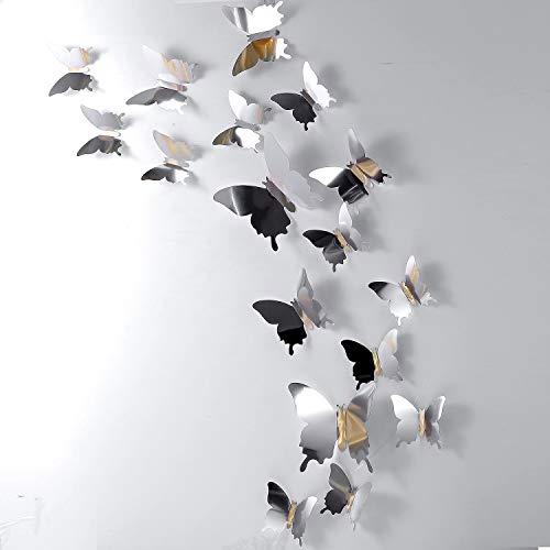 48 Pezzi DIY Farfalla Specchio Combinazione Adesivi Murali Farfalla 3D Decalcomanie a Casa Decorazioni - 1