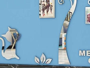 Asvert Adesivo Murale Albero Acrilico 3D Adesivo Murale Facile da Installare e Applicare Adesivo Decorativo Fai da te Decorazioni per la casa. Foglie Blu con Cornici a Sinistra. Gattino d'argento. - 3