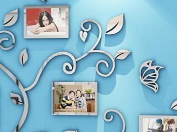 Asvert Adesivo Murale Albero Acrilico 3D Adesivo Murale Facile da Installare e Applicare Adesivo Decorativo Fai da te Decorazioni per la casa. Foglie Blu con Cornici a Sinistra. Gattino d'argento. - 4