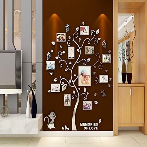 Asvert Adesivo Murale Albero Acrilico 3D Adesivo Murale Facile da Installare e Applicare Adesivo Decorativo Fai da te Decorazioni per la casa. Foglie Blu con Cornici a Sinistra. Gattino d'argento. - 1