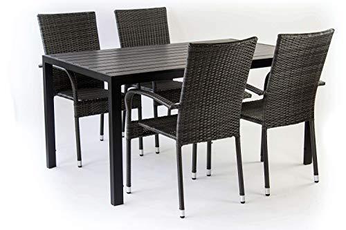 AVANTI TRENDSTORE - Piave - Set da Giardino Composto da 1 Tavolo Nero in Metallo e polywood, con 4 sedie impilabili in ecorattan di Colore Grigio Scuro. Tavolo Disponibile in 2 Diverse Misure. (Big) - 1
