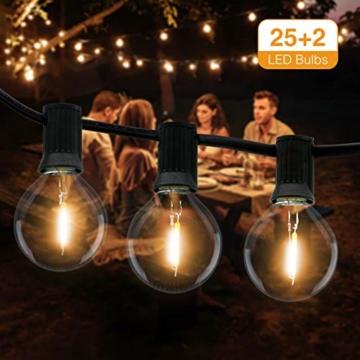 Catena Luminosa Esterno, Litogo 9,5m Luci da Esterno LED Catene Luminose per Esterni con 25+2 G40 Filo Lampadine Luminarie Lucine da Esterno Decorative per Giardino Natale Terrazza Matrimonio Partito - 1
