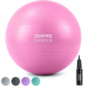 CORE BALANCE, Gym Ball, Palla da Palestra in Materiale Resistente - Esercizi Fitness Yoga Gravidanza - Anti Scoppio/Anti Scivolo - 55cm 65cm 75cm 85cm - Guida Esercizi Inclusa - 1