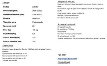DEKALUX CASETTA in Legno da Giardino 2,5X2 - 4