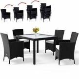 Deuba Set da giardino in poly rattan sedie impilabili cuscini 7cm spessore mobili da giardino tavolo e sedie da esterno - 1