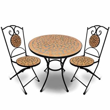 Jago Tavolo e Sedie Mosaico - Set Rotondo o Quadrato, 2 Sedie, in Ceramica, Struttura in Acciaio, Modello a Scelta - Set Mobili da Esterno, Giardino, Tavolino e Sedie da Balcone - 2