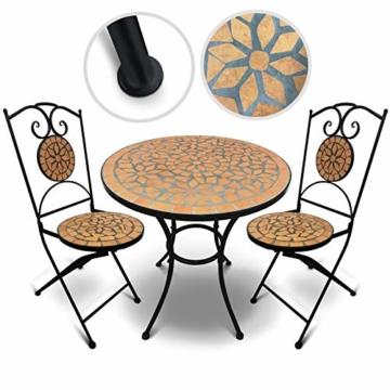 Jago Tavolo e Sedie Mosaico - Set Rotondo o Quadrato, 2 Sedie, in Ceramica, Struttura in Acciaio, Modello a Scelta - Set Mobili da Esterno, Giardino, Tavolino e Sedie da Balcone - 3