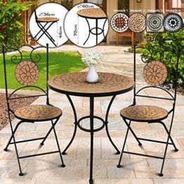 Jago Tavolo e Sedie Mosaico - Set Rotondo o Quadrato, 2 Sedie, in Ceramica, Struttura in Acciaio, Modello a Scelta - Set Mobili da Esterno, Giardino, Tavolino e Sedie da Balcone - 1