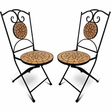 Jago Tavolo e Sedie Mosaico - Set Rotondo o Quadrato, 2 Sedie, in Ceramica, Struttura in Acciaio, Modello a Scelta - Set Mobili da Esterno, Giardino, Tavolino e Sedie da Balcone - 4