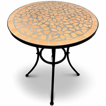 Jago Tavolo e Sedie Mosaico - Set Rotondo o Quadrato, 2 Sedie, in Ceramica, Struttura in Acciaio, Modello a Scelta - Set Mobili da Esterno, Giardino, Tavolino e Sedie da Balcone - 6