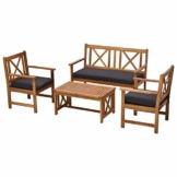 Outsunny Salotto da Esterni in Legno di Acacia | Set 4 Pezzi Mobili da Giardino: Divano, Poltrone, Tavolino con Cuscini - 1