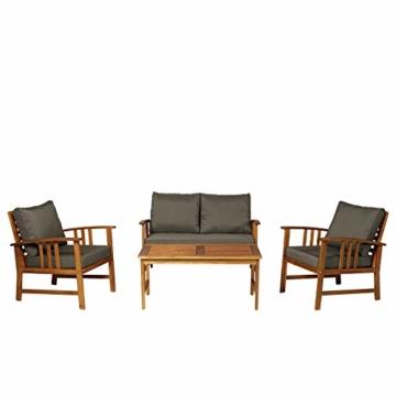 Outsunny Set 4 Mobili da Giardino Divano, 2 Poltrone e Tavolino Esterno Legno di Acacia - 3