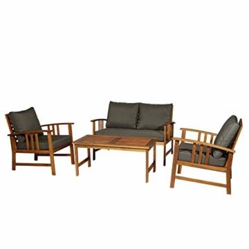 Outsunny Set 4 Mobili da Giardino Divano, 2 Poltrone e Tavolino Esterno Legno di Acacia - 1
