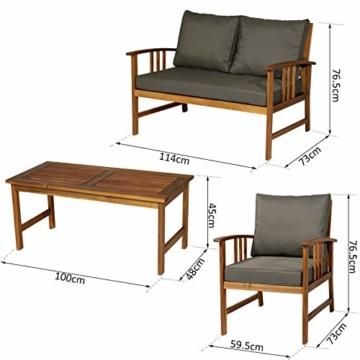 Outsunny Set 4 Mobili da Giardino Divano, 2 Poltrone e Tavolino Esterno Legno di Acacia - 7