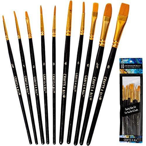 Pennelli 12 pezzi serie Professional Spazzola di vernice intorno alla punta dei capelli di Nylon artista pennello acrilico per Acrilico Acquerello pittura ad olio da Crafts 4 ALL - 1