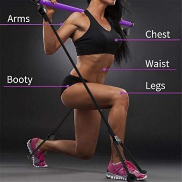 Risefit Yoga Pilates Stick Sport Attrezzature per Il Fitness Yoga per la casa Addome Multifunzionale Torace Espansore Braccio Estrattore Muscolare (Porpora) - 5