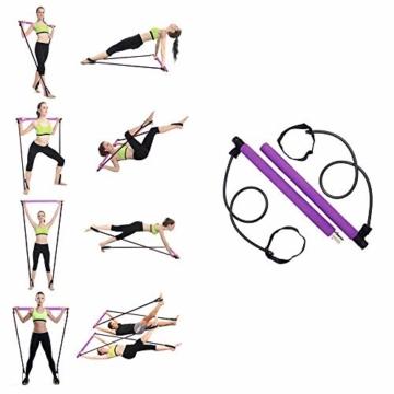 Risefit Yoga Pilates Stick Sport Attrezzature per Il Fitness Yoga per la casa Addome Multifunzionale Torace Espansore Braccio Estrattore Muscolare (Porpora) - 7