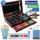 Set da 186 pezzi, kit da disegno per pittura con matite di vernice acrilica Pastelli ad olio Torte ad acquerello Libro da colorare Blocco per schizzi ad acquerello per bambini Adulti - 1