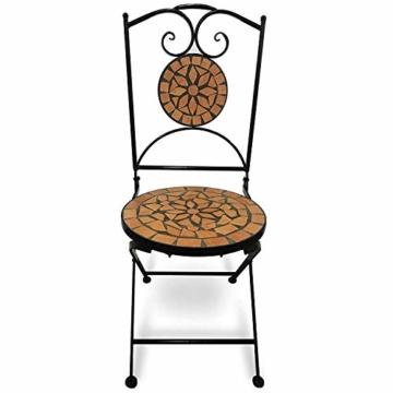 Set da Giardino Mosaico - Tavolo Rotondo (Ø/A: 60x70cm) + 2 Sedie Pieghevoli (46cm Altezza Seduta), Marrone Nero - Mobili da Esterno, da Balcone - 3