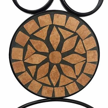 Set da Giardino Mosaico - Tavolo Rotondo (Ø/A: 60x70cm) + 2 Sedie Pieghevoli (46cm Altezza Seduta), Marrone Nero - Mobili da Esterno, da Balcone - 4
